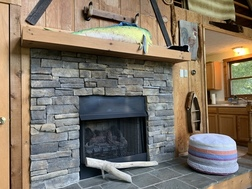 The cabin's fireplace